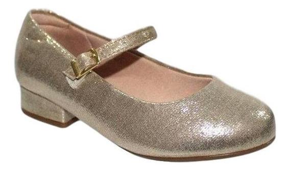 Sapato Infantil Feminino Molekinha 2528.101 Dourado Linho