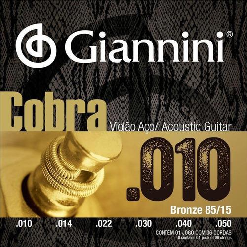 Imagem 1 de 6 de Encordoamento Corda Giannini Violão Aço Cobra 010 85/15 Nf