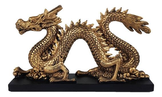 Dragão Chines Dourado Com Base Preta Decoração