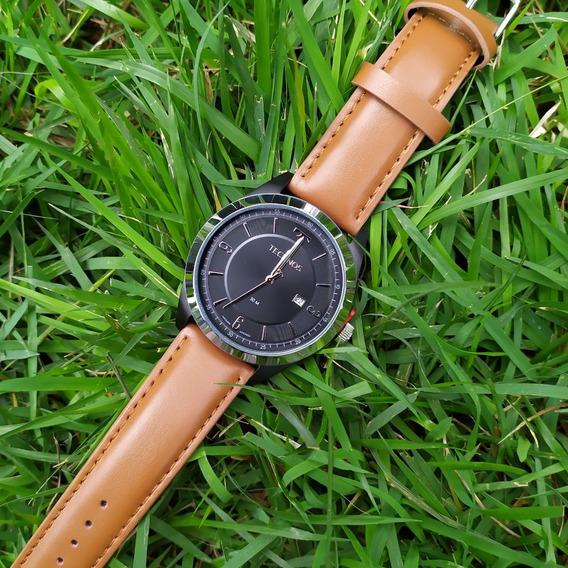 Relógio Masculino De Couro Technos 2117lbp C/ Nf Original