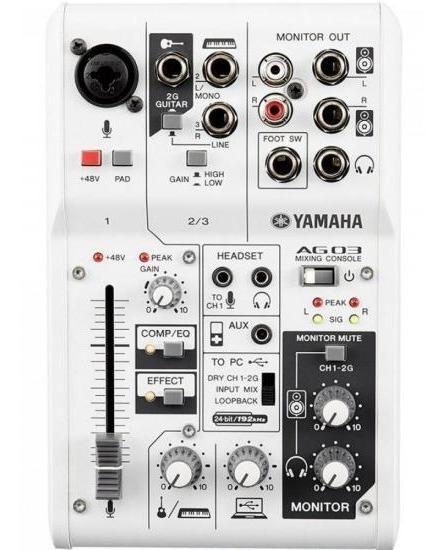 Mesa De Som E Interface De Áudio 3 Canais Ag03 Branca Yamaha