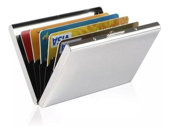 Tarjetero Porta Tarjetas En Aluminio Color Plateado