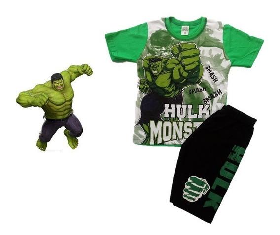 Conjunto Roupa Infantil Menino Hulk Super Heróis - Tam 1 A 7