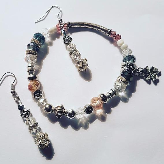 Conjunto Brincos Cristais Bracelete Prata Tibetana