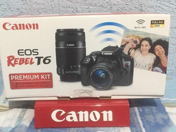Cânon T6 Kit Premium 18-55n + Lente 55-250m Nova Na Caixa