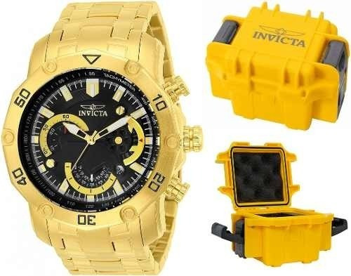 Relógio Invicta Pro Diver 22767 Banhado Ouro 18k Maleta