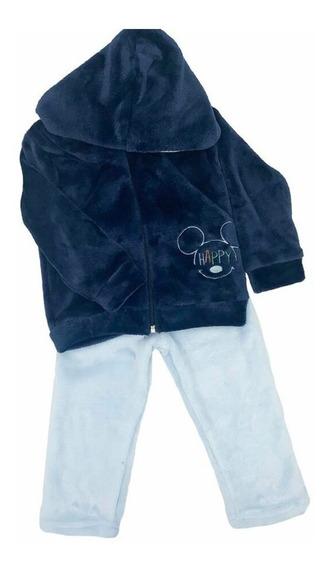 Conjunto Con Chamarra Bordado Disney Mickey Con Gorro Azul