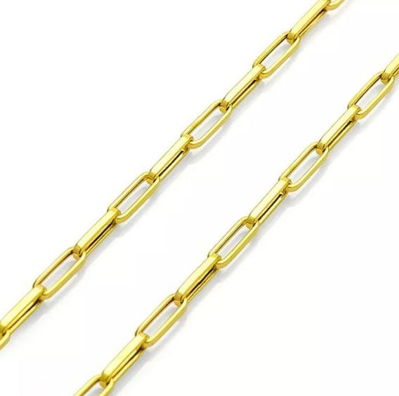 Corrente Com Pingente Placa De Ouro 18k Masculina 60cm