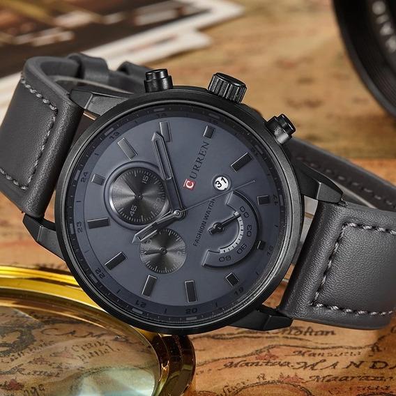 Relógio Masculino Preto Esportivo Curren Couro Aço Inox Luxo