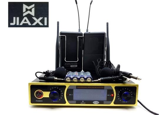 Microfone Jiaxi 51302 Duplo Lapela Sem Fio Longo Alcance