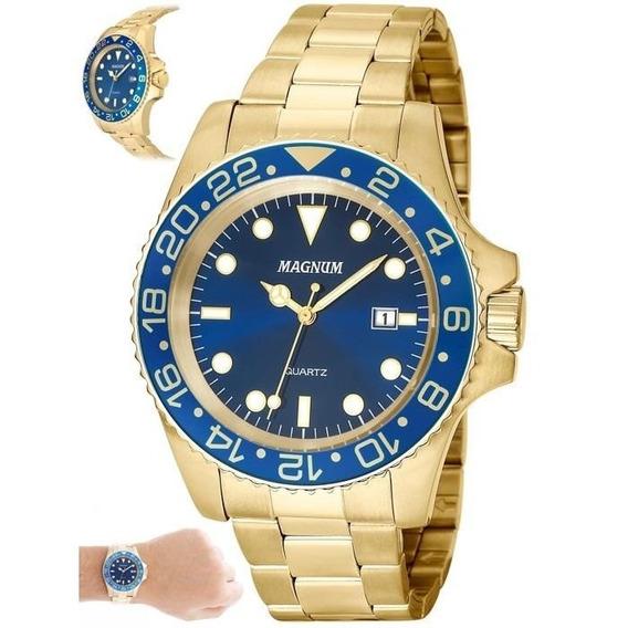 Relógio Magnum Masculino Ref: Ma32934a Casual Dourado