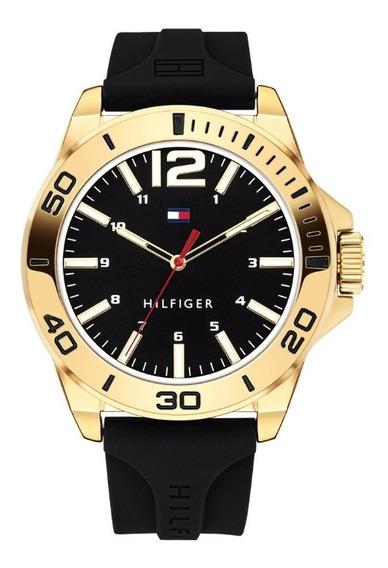 Relógio Tommy Hilfiger Preto E Dourado - Novo E Original