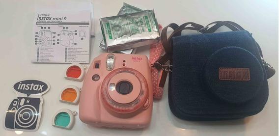 Câmera Fujifilm Instax Mini 9 - Rosa Com 20 Filmes + Capa