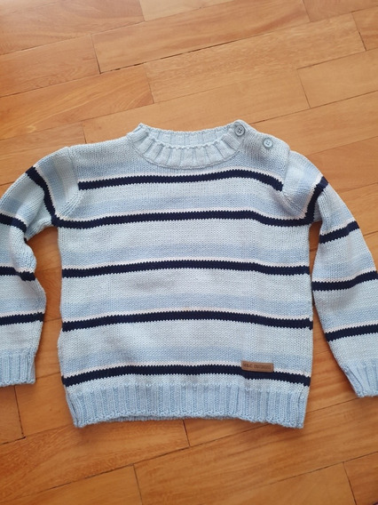 Sweater Celeste Rayado Mimo Niño