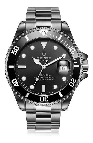 Relógio Mecânico Homens Tevise T801a Correia Aço Inoxidável