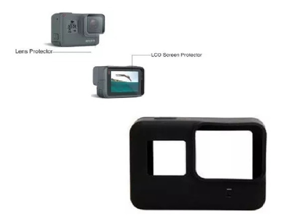 Kit Gopro Hero 5 6 7 Capa De Silicone Protetora E Películas