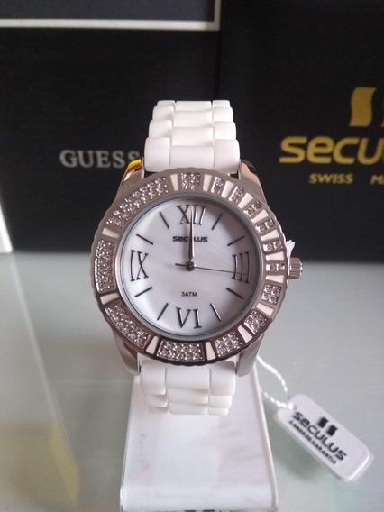 Relógio Seculus Com Pulseira Branca