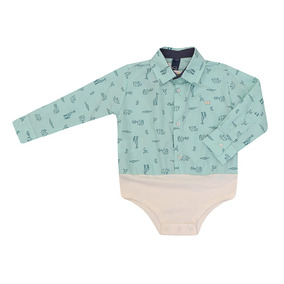 Camisa-body Masculino Bebê Manga Longa Verde