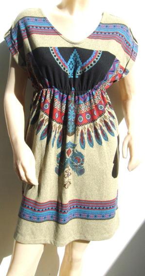 Forever21 Vestido Lanilla S/p Marron Estampado (ana.mar)