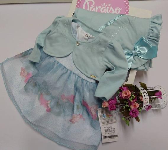 Saida De Maternidade Paraiso Bebê Menina Bolero Vestido 7988