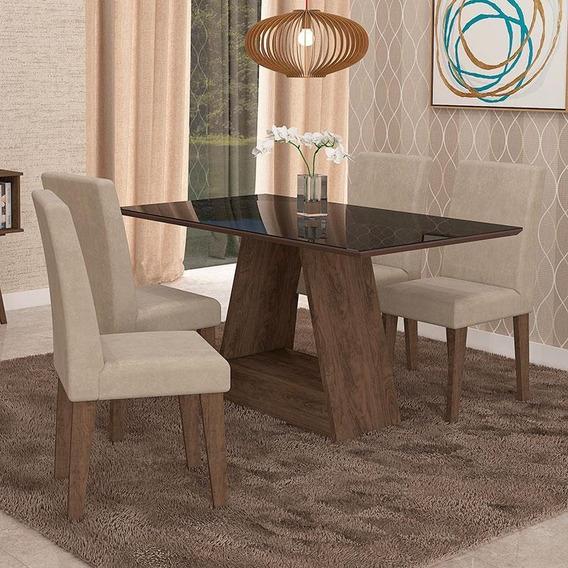 Mesa Para Sala Jantar C/ Vidro 4 Cadeiras Alana/milena Cimol