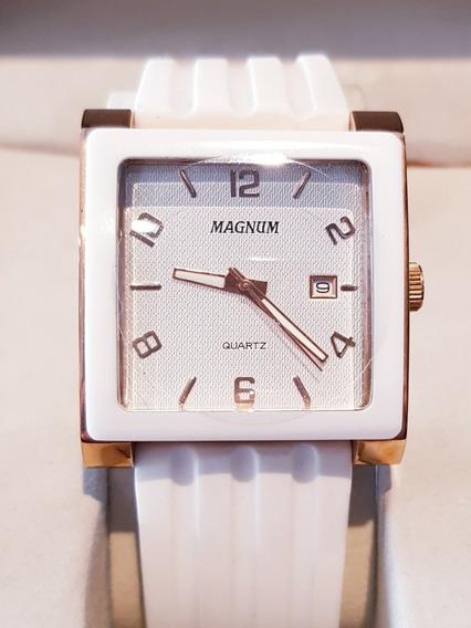 Relógio Feminino Analógico Branco Com Calendário Magnum