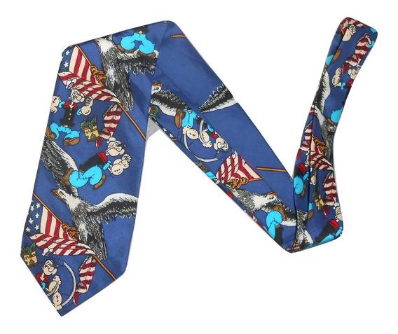 Corbata Azul Con Diseño Popeye El Marino Aguilas Y Banderas