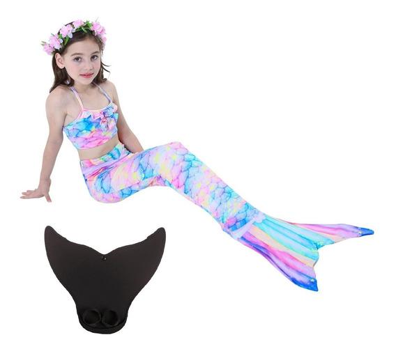 Envío Gratis Set 4 Sirena Cola Y Bikini Niñas Con Monoaleta