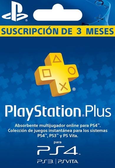 Codigo Suscripcion Playstation Plus 3 Meses Inmediato Ps4