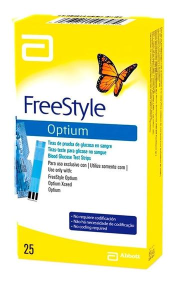 Freestyle Optium Tira Reactiva Para Glucosa 25 Tiras