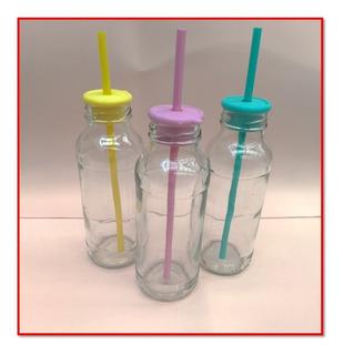 Botella Candy Vidrio + Tapon Tapa P/sorbete Souvenirs X35