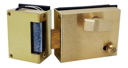 Cerradura Destrabador Eléctrico Con Picaporte Para Puerta Vidrio Blindex Color Bronce Luber 830