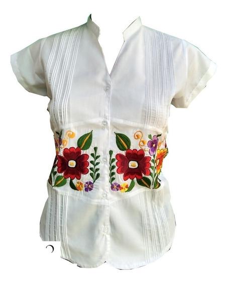 Blusa Guayabera Cinturon Flores Algodon Blanco 100% Yucateca