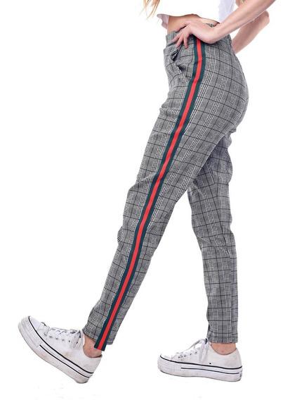 Customs Ba Calzas Mujer Pantalones Mujer De Vestir Rayas Neg