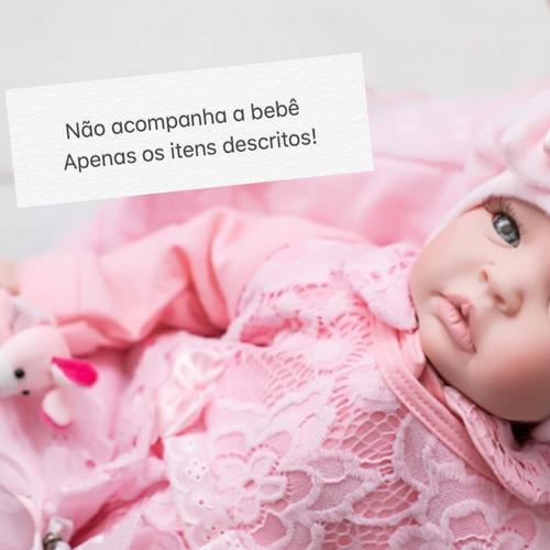 Imagem 1 de 7 de Kit Saída Maternidade Enxoval Manta Boina Bebe Renda Luxo