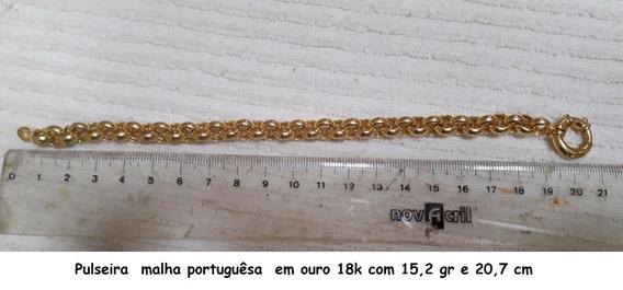 Pulseira Ouro Amar. 18k 15,4gr 20,7cm Malha Portuguesa