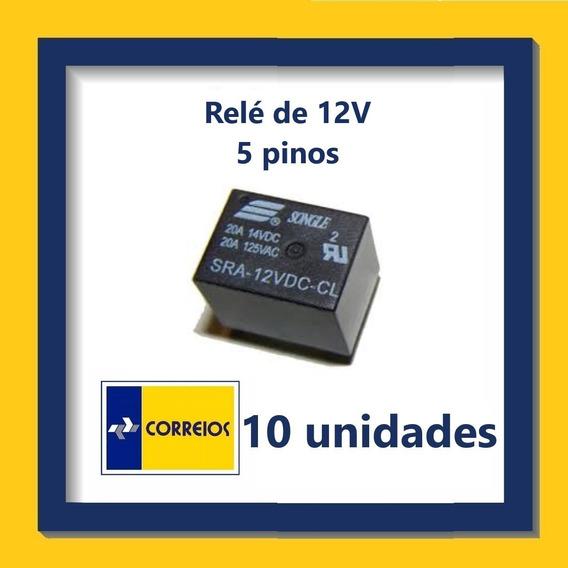 Relé De 12v - 5 Pinos - Kit Com 10 Unidades