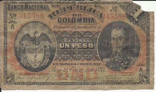Colombia 1 Peso Oro 2 De Enero 1893