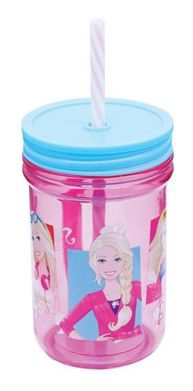 Caneca Infantil Com Canudo Barbie Zippy Toys