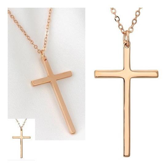Colar Crucifixo Feminino Dourado Fino Liso 81485