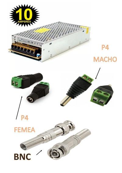 Fonte Chaveada 12v 10a Com 10 Conectores Bnc , P4 F10a10c
