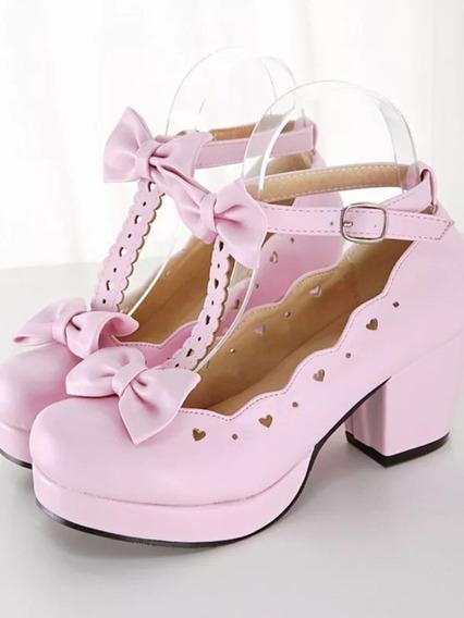Sapatos Princesa Salto Sweet Lolita Lacinho Kawaii Cosplay
