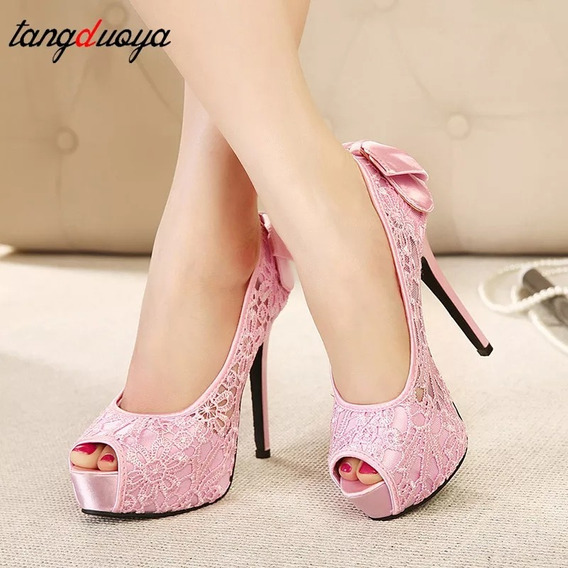 Sapato Alto Feminino Renda 12 Cm Peep Toe