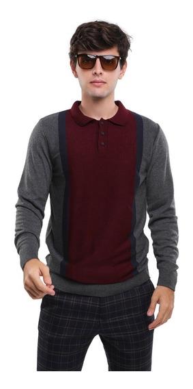 Camisa Tipo Polo Tejido De Punto Bloques De Color Lob