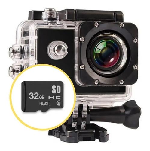 Câmera Filmadora Ação Capacete Mergulho + Cartão Memória 32g