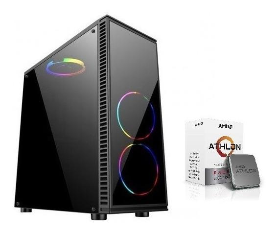 Pc Cpu Gamer Amd Athlon 200ge 8gb Ssd 240gb Vga Vega 2gb C/1led