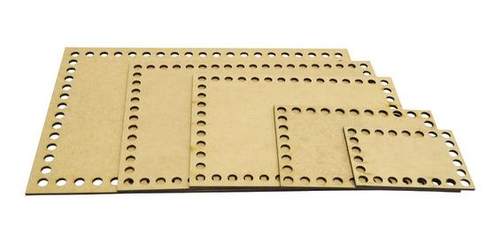 Kit 5 Placa Base Retangular Cesto Fio De Malha Croche Mdf