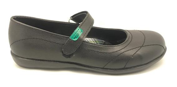 Zapato Colegial Nena Guillermina Abrojo Negro (art 120)