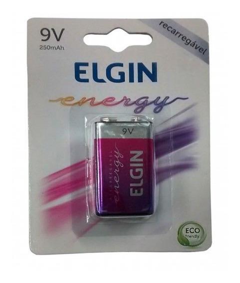 Bateria Recarregável Elgin 9volts 250mah Cartela 1peça!!