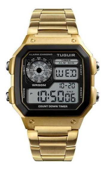 Relógio Masculino Retro Dourado 1335 Tuguir Pulso Aço Inox